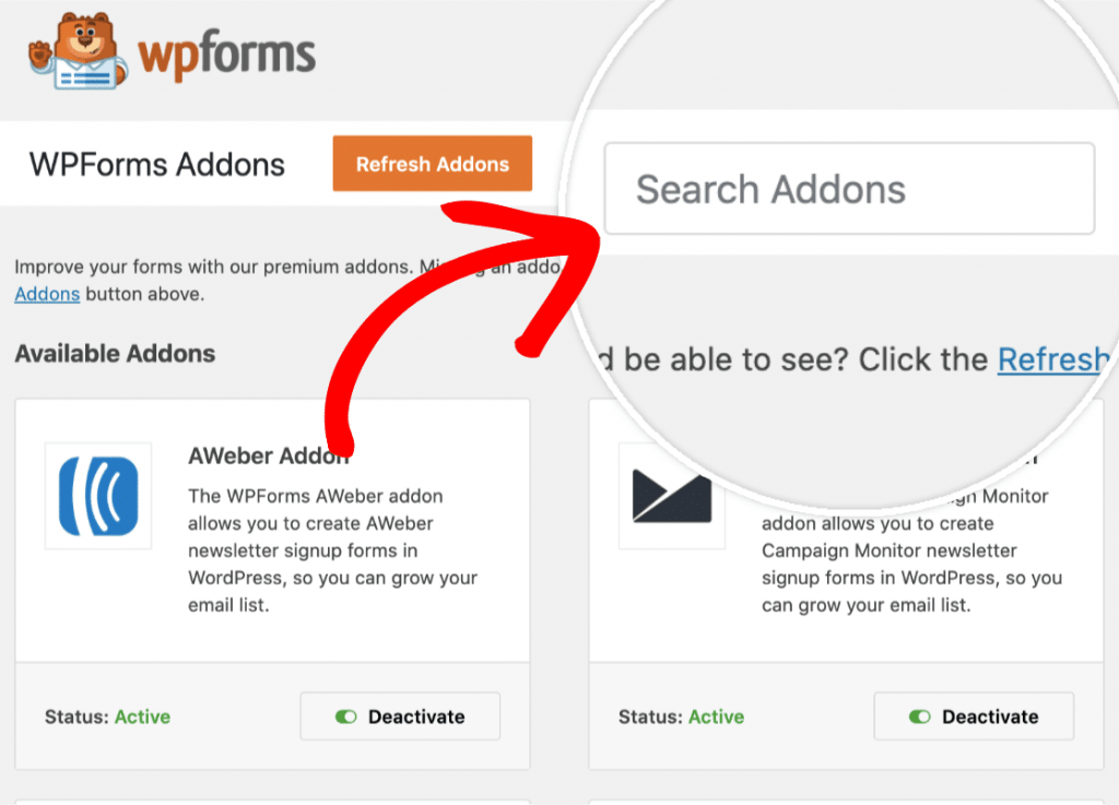 Search bar for addons