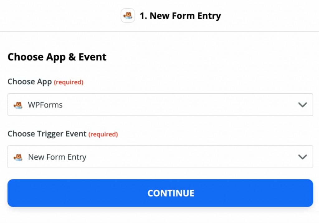 Trigger options for WPForms in Zapier